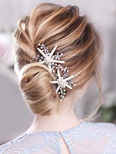 Simsly Horquillas para el pelo de novia de boda, diseño de estrella de mar, color plateado, accesorios para el pelo para mujeres y niñas (2 unidades)