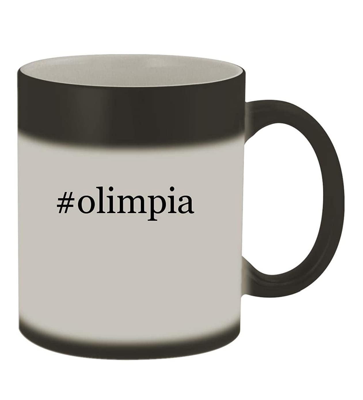 #olimpia - 11oz Color Changing Hashtag Sturdy Ceramic Coffee Cup Mug, Matte Black