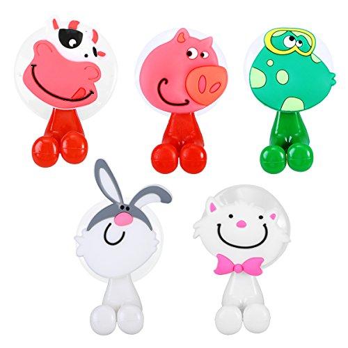 OUNONA 5 st¨¹cke Kinder Zahnb¨¹rstenhalter mit Saugnapf, Wandbehang Tier Cartoon Halterung f¨¹r Zahnb¨¹rsten