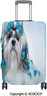 SCOCICI Anti-scratch Baggage Luggage Cover Protector Shih tzu Dog with Surlers Grooming Hairstyle Salon Front View Closeup Studio Shot Multi-function Travel Suitcase Cover (Cover ONLY, Suitcase NOT I
