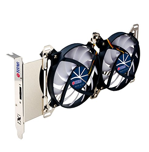 TITAN- 12V DC Adjustable Dual X Houlder with Two Fans for PCI Slot VGA Cooling or DIY Mounting...