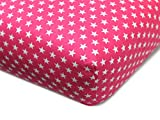 Emily´s Check npluseins Kinder Baumwoll Spannbettlaken - Sternen im Alloverdesign 444.511, 70 x 140-150 cm, Fuchsia