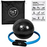 PuraVida Lifestyle Pilates Set Includes Best Pilates Ring 14 Inches and Mini Exercise Ball 9 Inches with Travel Bag for Fitness, Pilates, Yoga, Core Training, Tone Thighs, Legs, ABS, Stability (Blue)