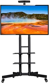 Topeakmart TV Cart Rolling Trolley Mount TV Stand on Wheels Height Adjustable for LED LCD Plasma Flat Panels for 32-65 in