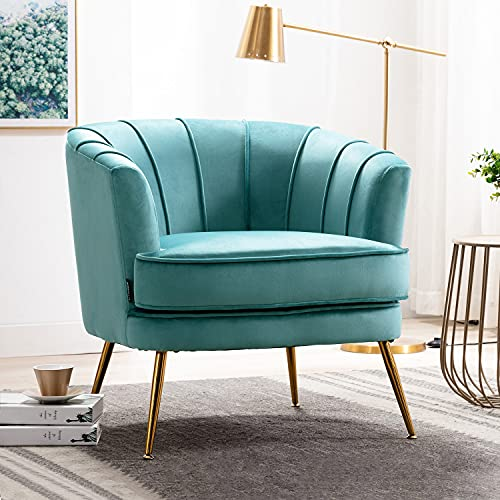 Altrobene Velvet Accent Chair Modern Channel Tufted Armchair Comfy Barrel Chair with Gold Legs for Living Room, Bedroom, Office, Turquoise