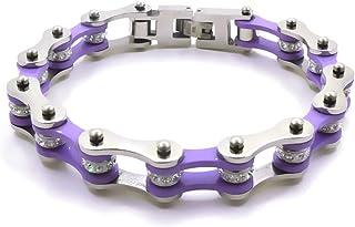 Bracciale catena moto in acciaio inossidabile colore viola e argento firmato Desja con shopper e custodia in omaggio