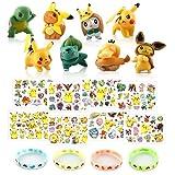 Jeu Pokémon Jouets Pokémon Jouets Set de 8 Pièces Mini Figurine, 12 Bracelets en silicone, 8 Sheets Pokemon Tatouage Temporaires pour Enfant, Pokémon Jouets Cadeaux de Fête, Accessoires de Fête
