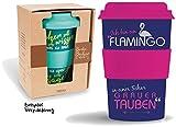 Bamboo Becher to go 'Ich bin ein Flamingo...' 400 ml für Kaffee/Tee: aus Bambus mit Silikondeckel und -halter in Geschenkverpackung