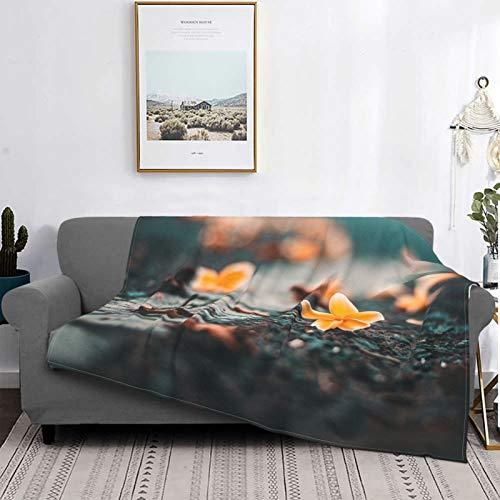 Manta para niños y adultos, suave y cálida microfibra para cama, sofá y viaje, 150 x 200 cm (flor con pétalos amarillos)