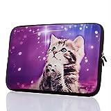 13.3-Inch to 14-Inch Laptop Neoprene Sleeve Case with Hidden Handle for 13.3 14 14.1' Inch Men Women Ultrabook/Chromebook/Tablet/Netbook (13.3-14 Inch, Cute Cat)
