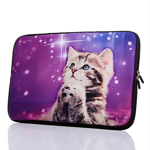 15.6-Inch Neoprene Laptop Sleeve Case with Hidden Handle for 14 14.1 15 15.6' Inch Men Women Acer/Asus/Dell/Lenovo/Thinkpad/Toshiba (15-15.6 Inch, Cute Cat)