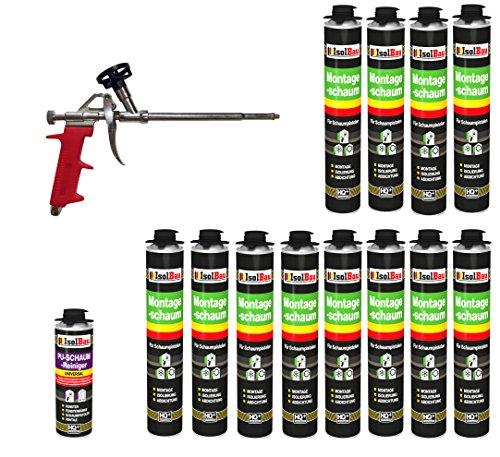 Bauschaum SET Pistolenschaum 12 Dosen 750 ml Montageschaum 1K PU-Schaum + 1 Reiniger + 1 Schaumpistole Füllschaum Dämmschaum Innen Aussen Fenster Türen