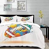parure de lit adulte,housse de couette,Sports, ballon de rugby avec effets de pinceau arc-en-ciel recouverts de couleurs Sports Sig,1 Housse de couette 220 x 240cm + 2 Taies d'Oreillers 63 x 63 CM
