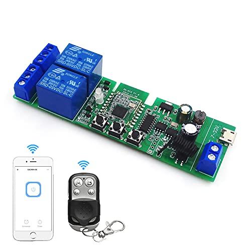 Interruptor de Relé Inteligente ZIGBEE de 2 Canales 5-12V, Módulo De Relé Wifi, Funciona con Alexa/google Assistant e Ifttt, Compatible con La Aplicación Ewelink/tuya Smart Life