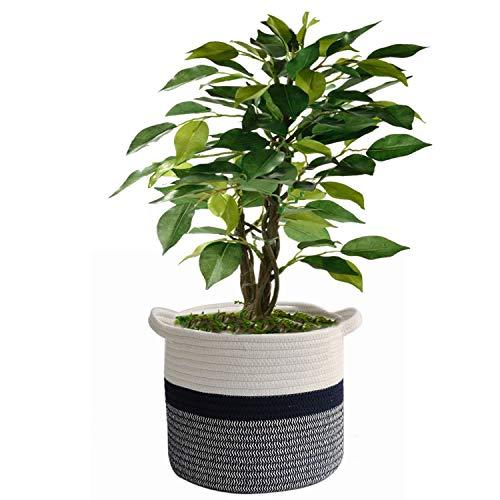 AILI Cotton Rope Woven Plant Basket Modern Woven Basket for 10' Flower Pot Floor Indoor Planters,Storage Organizer Basket Rustic Home Decor,White Black Stripes 11'x 11'