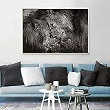 YuanMinglu Arte en Blanco y Negro Moderno Lienzo Pintura Animal Carteles e Impresiones Besos león Imagen de la Pared decoración de la Sala Pintura sin Marco 40x60cm