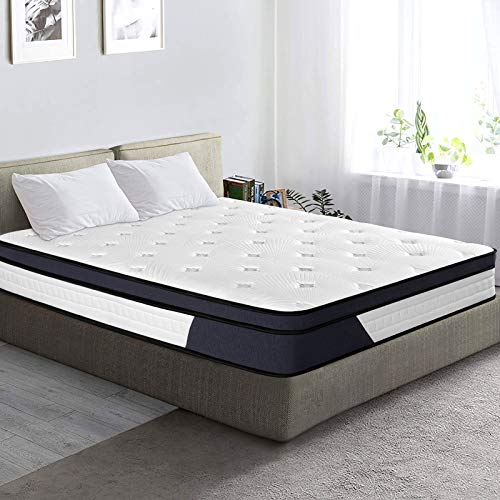 Homemaxs Double Mattress Memory Foam Mattress - 4.3 FT Pocket Sprung Mattress Small Single Bed With Soft Knitted Fabric and Individually Wrapped Spring - Fire Resistant and Stain Resistant Mattress