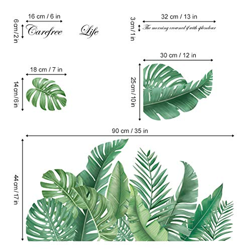decalmile Green Leaves Wall Decals Palm Tree Leaf Plants Wall Stickers Bedroom Living Room TV Wall Door Decor (W: 45 Inches)