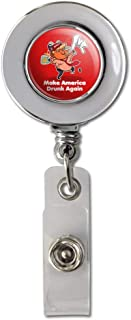 Trump Make America Drunk Again with Beer Retractable Reel Chrome Badge ID Card Holder Clip