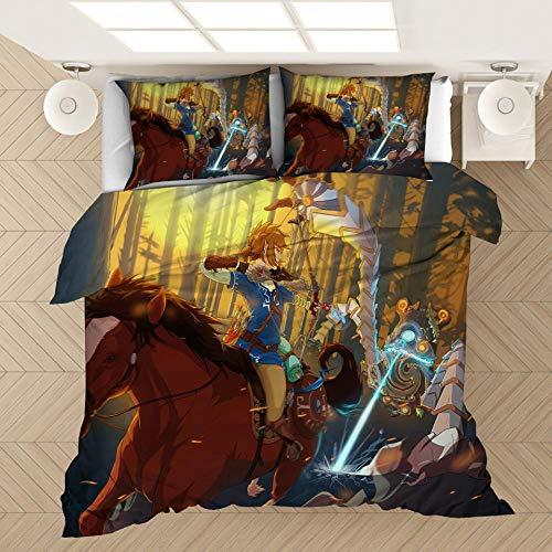 SixyeLiuzhi Spiel Legende von Zelda Bett leinen Cartoon Spiel Bettbezüge Kissenbezüge Tröster Bettwäsche-Sets bettwäsche bettwäsche Bett Set,200x200cm(3Stück)