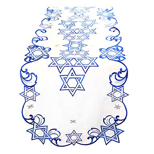 Ella Sussman Holiday Star of David Jewish Table Runner Topper Blue Embroidered Cut Work Topper Linen Decorations (16' x 66')