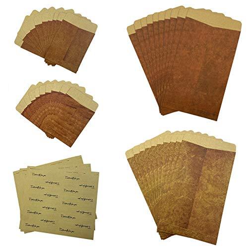 Vintage Umschläge Kraft Brown Retro Umschlag und Mini Kraftpapier Umschläge mit Siegelaufkleber für Postkarten Briefe Einladungen Karten Schmuck Packung mit 40 Stück (12 * 20 cm / 8 * 10 cm)