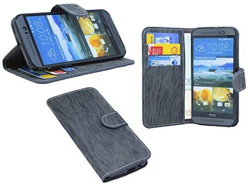 ENERGMiX Buchtasche kompatibel mit HTC ONE M9 Hülle Hülle Tasche Wallet BookStyle mit Standfunktion Anthrazit