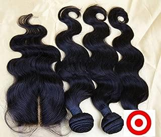 DaJun Hair 7A 3 Hair Bundles With Mid-Part Lace Closures Mongolian Virgin Remy Human Hair Body Wave Natural Color (trademark:DaJun)12
