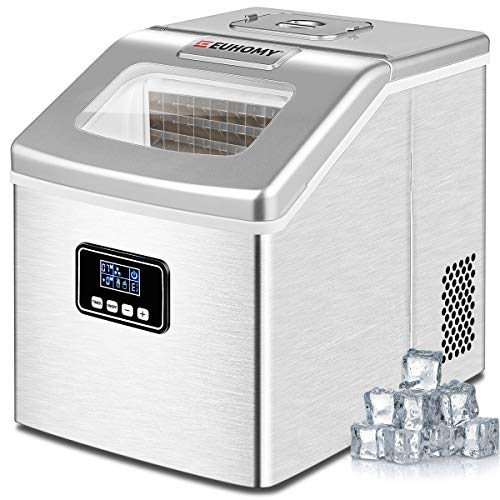Euhomy Ice Maker Machine Countertop, 40Lbs/24H Portable Compact Ice Cube Maker, With Ice Scoop & Basket, Perfect for Home/Kitchen/Office/Bar (Sliver)