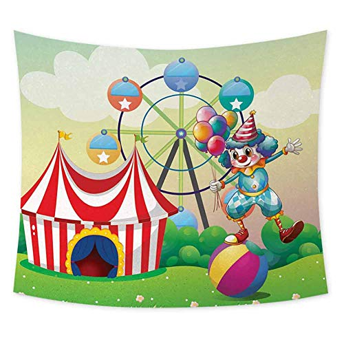 jecycleus Circus Decor Hippie Tapestry Wall Hanging Illustration of a Clown Balancing Above an Inflatable Ball at The Carnival Tapestry for Rome Decor W70.5 x L59 Inch Multicolor