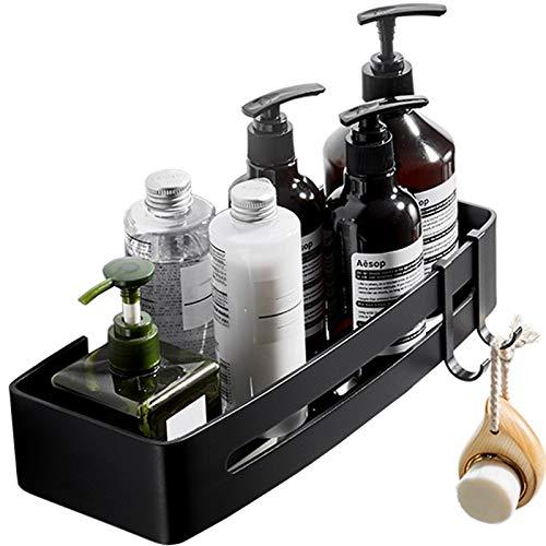 Duschregal Duschablage Badezimmer Dusche Caddy Ohne Bohren Duschkorb Organizer für Bad, Rostfreies Aluminium mit 2 Haken, Schwarz, 32 x 13 cm