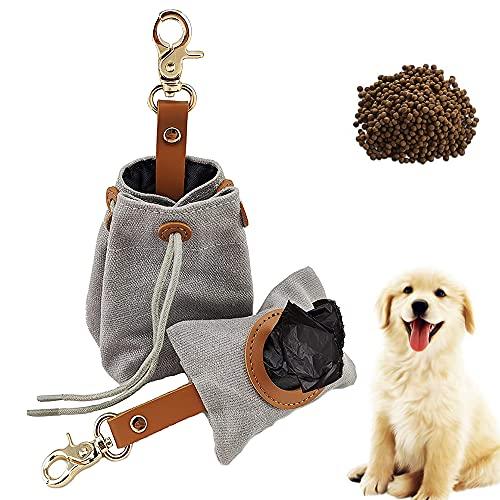 1 Satz Hundekotbeutelspender, Tragbarer Hundekotbeutel, Hundefutterbeutel, Kotbeutelspender, Futterbeutel Hund, Leckerli-Beutel für Hunde, für Hundespaziergang, Laufen, Wandern (Grau)