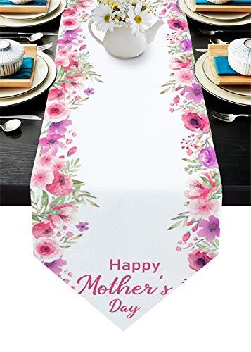 Yo Chairon Chemin de table en coton et lin avec fleurs roses aquarelle avec branches - Chemin de table pour dîner de famille, fête de mariage, décoration d'intérieur, fête des mères - 45,7 x 183,7 cm