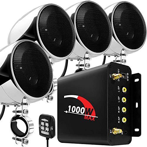 "Aileap 1000W 4 Canales de Motocicleta Amplificador 4"" Gama Completa Impermeable Bluetooth Motocicleta Altavoces estéreo Sistema de Audio con Radio FM para 1-1,5"" Manillar ATV UTV (Cromo, Red)"