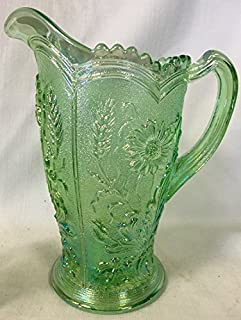 Water Pitcher Field Flower Pattern - Mosser Glass - American Made (Apple Green Carnival)