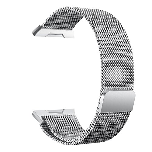 chofit pulsera de metal de repuesto para Ionic, Milanese Loop pulsera de banda encantador correas perfecto para 2017nueva Fitbit Ionic–Reloj, Silver-L