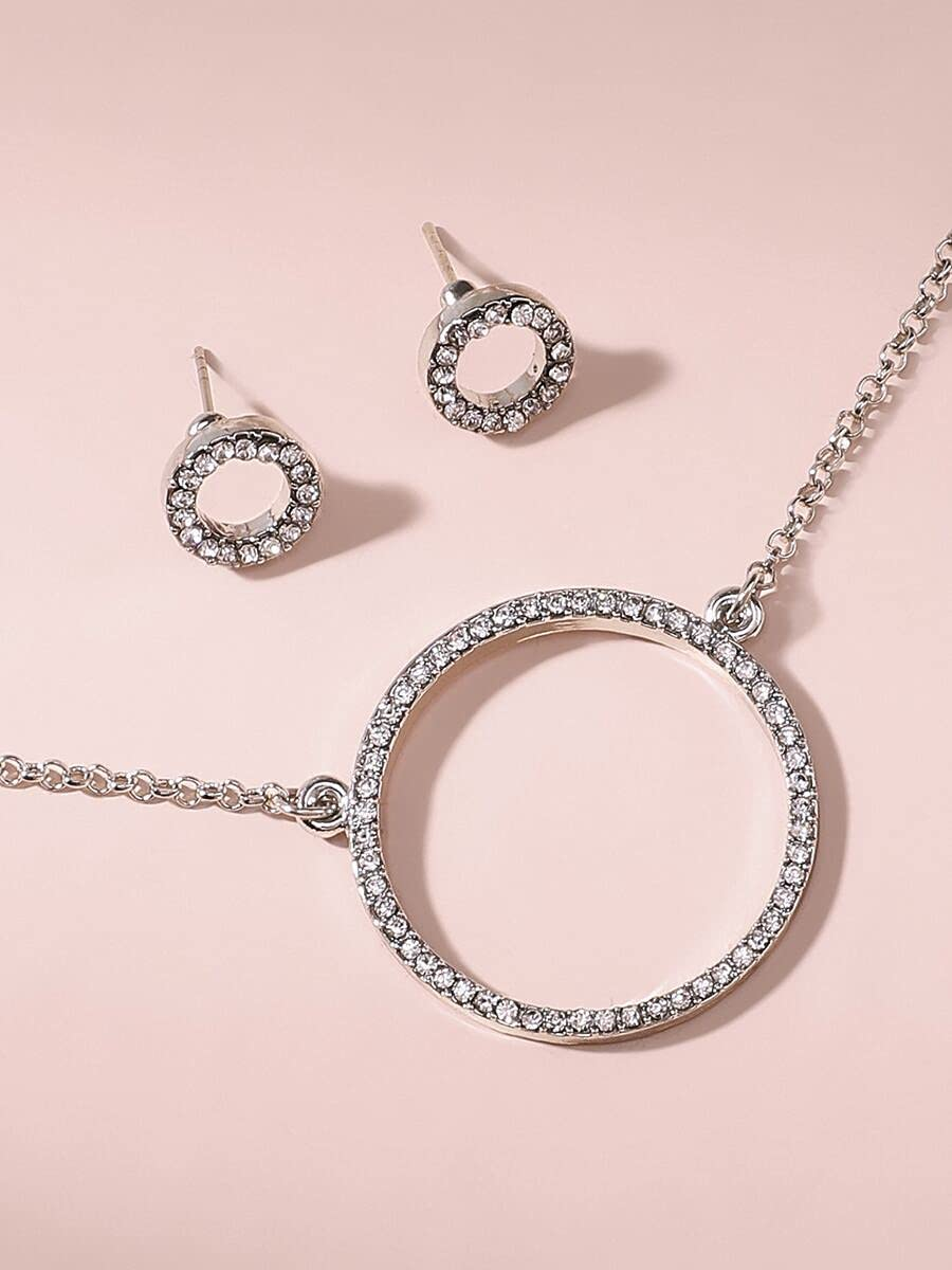 LND Gifts Jewelry Sets Rhinestone Max 49% Special price for a limited time OFF Earring Necklace Round Charm