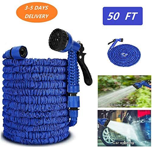Manguera de jardín expandible de bolsillo flexible – Manguera de jardín extensible con 7 modos diferentes, manguera de agua de presión flexible azul/verde