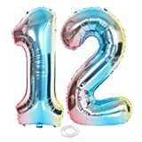 SNOWZAN Ballon XL chiffre 12 - Ballon arc-en-ciel - Pour fille et garçon - 12 ans - Décoration d'anniversaire - Bleu - Rose - Multicolore irisé - Ballon gonflable à l'hélium - Happy Birthday Party