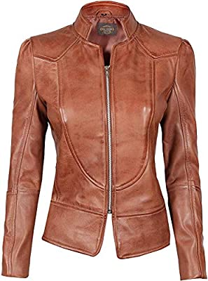 Decrum Womens Leather Jackets - Leather Moto Jacket Women Brown [1300863] | Brown Amy, M