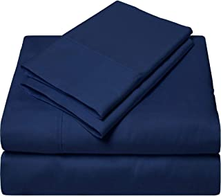 SGI bedding Queen Sheets Luxury Soft 100% Egyptian Cotton - Sheet Set for Queen Mattress Navy Blue Solid 600 Thread Count Deep Pocket