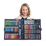 150pcs Arte Deluxe Set Dibujo Art Box con los lápices marcadores de colores Lápices de colores pasteles del aceite acuarela para principiantes adultos artistas (Color : Black)