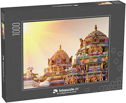 fotopuzzle.de Puzzle 1000 Teile Schöne Ansicht der farbenfrohen Gopura im hinduistischen Kapaleeshwarar-Tempel,Chennai, Tamil Nadu, Südindien