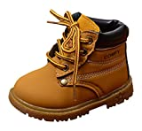 Boys Girls Martin Boots Warm Lace Up Faux Suede Flat Ankle Snow Boots Shoes (Yellow(Textile Lining), 6 M US Toddler)