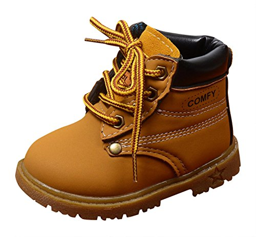 Happy Cherry Autumn-Winter Comfort Boots Lace-Up Martin Boots Lace up High Top Ankle Shoes for Baby Boys Girls Yellow Size 22