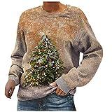 Damen Pullover Weihnachten Sweatshirt Weihnachtsbaum Lässige Zusammenfassung Gedruckt Oberteile Langarmshirt T Shirt Lässig Kapuzenpullover Schöne Longsleeve Blusen Tunika