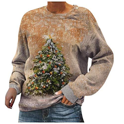 YANFANG Sudadera sin Capucha de Manga Larga con Estampado de árbol de Navidad Abstracto Casual para Mujer Informal Talla Grande