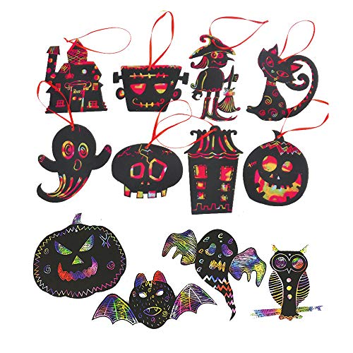Homo Trends 24PCS Halloween Scratch Art, Halloween Basteln für Kinder, Halloween Kunsthandwerk für Kinder, Halloween Aktivitäten, Halloween-Spiele (Kürbis, Hexe, Kürbis-Geist-Kombination)