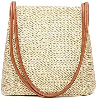 Kuke Straw Handbag Handmade Retro Rattan Knitted Messenger Bag Lady Shoulder Bag for Beach Travel and Everyday Use Bohemia Style (Brown)