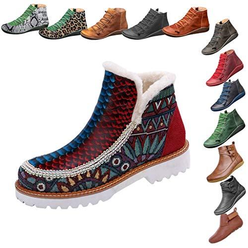 Zegeey Damen Kurzschaft Stiefel Retro Classics Stiefel Herbst Winter Casual Boots Winterstiefel Schneestiefel Bequeme Warm Halbschaft Stiefel(A4-rot,36EU)